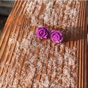 Wild Violet Rose Cabochon Stud Earrings